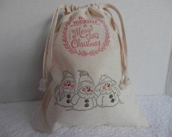 CHRISTMAS GIFT BAG 8x10 Cotton Bag, Gift Wrapping, Christmas Wrapping, Christmas Money Bag, Cotton Drawstring Bags, Christmas Wedding Bags