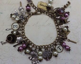 Alice In Wonderland Charm Bracelet, 'Tea Time' Fantasy Bracelet, Crystal, Purple, Lilac & Cream, Fairytale