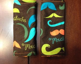 Mustache Car Seat Belt Covers - Reversible