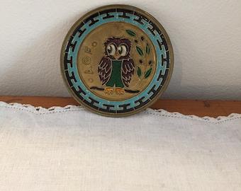 enamelled owl plate