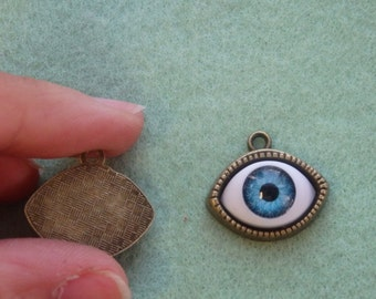 10 evil eye charm pendant bronze tone jewelry making wholesale