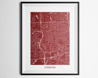 Lombard, Illinois Abstract Street Map Print