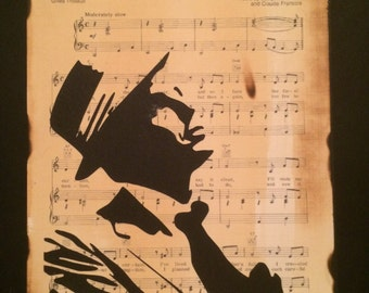 Frank Sinatra, Hand cut silhouette artwork,on My Way sheet music, Wall art, home decor, gift idea,