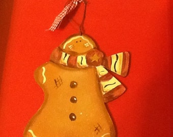 gingerbread ornament, country gingerbread man, christmas ornament, gingerbread gift tag, gingerbread grab bag, Tole gingerbread ornament