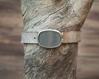 Children's Belt - Gray Leather Textured Belt with Nickel Plate Buckle (Children's)