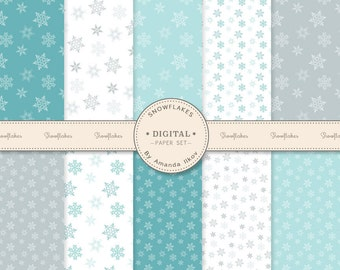 Premium Snowflake Digital Paper Set, Snowflake Papers, Snow Flake Patterns - Blue And Silver Snowflakes, Blue Snowflake Digital Papers