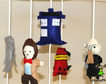 Doctor Who Baby Crib Mobile, Felt Mobile, Nursery Decoration - Inspired By Doctor Who TV Show