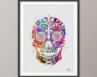 Sugar Skull Day of the Dead Watercolor Art Print Geekery Wall Art Poster Giclee Wall Decor Art Home Decor Nerd Wall Hanging [NO 266]