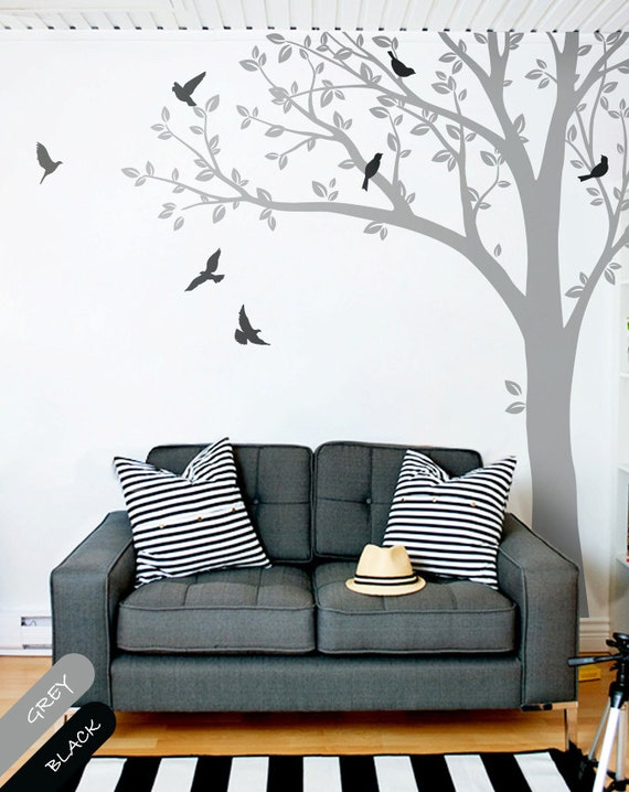 Wall decals huge tree wall decal wall mural stickers huge for Black tree wall mural