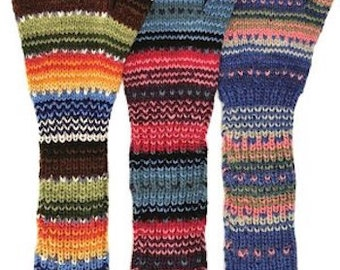 "100% Alpaca Long Fingerless Gloves/Arm Warmers, ""Sunset"" pattern -  Holiday Gift idea for Birthday, Christmas and Hanukkah"