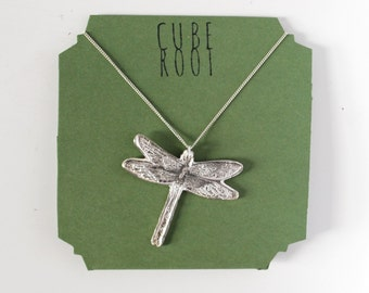 "Dragonfly fine silver necklace with 1mm sterling silver chain either 16"" or 18"""