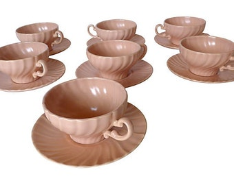SALE! Org 89.00 Set of 7 Mid Century Modern Franciscan Cup and Saucer in Soft Pink