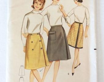 1960s Vintage Dress Pattern Butterick 3219 | A Line Knee Length Skirt | Womens Waist Size 24