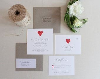 Rustic Love Heart on White Wedding Invitation Set
