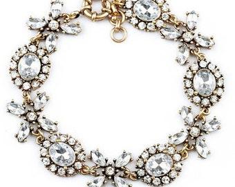 SALE - Vintage Crystal Flower Charm Bracele