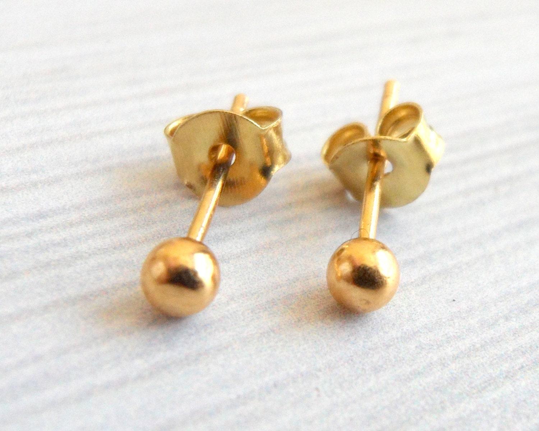 gold earrings gold dot earrings second stud