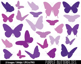 Butterfly Clipart, Purple Butterfly Clip Art, Butterfly Silhouettes Clipart, Purple baby shower - Commercial & Personal - BUY 2 GET 1 FREE!