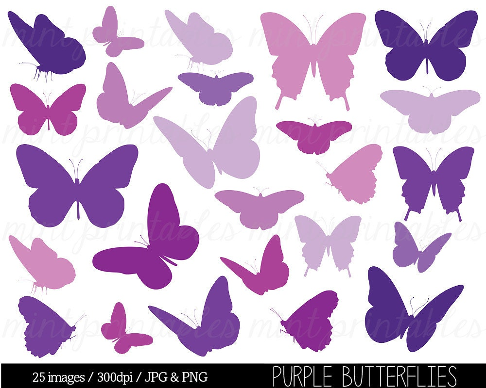 Butterfly Clipart Purple Butterfly Clip Art by mintprintables