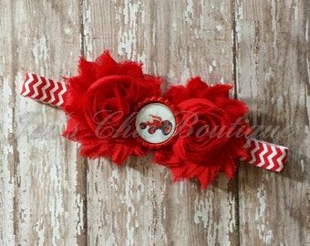 Red tractor chevron elastic infant, toddler, or adult size headband