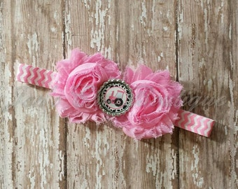 pink tractor chevron elastic infant, toddler, or adult size headband