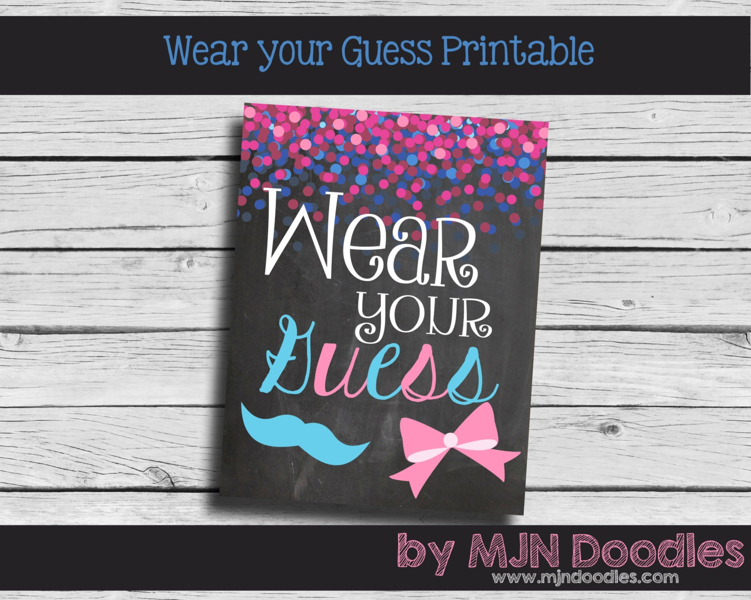Gender Reveal Wear your guess Printable Little Man by MJNDoodles