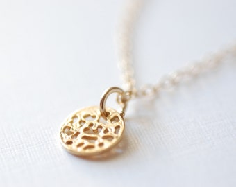 Gold Disc Necklace - Gold Filigree Disc Necklace, Gold Dot Necklace, Simple Gold Necklace, Gold Round Circle Necklace, Heirloomenvy