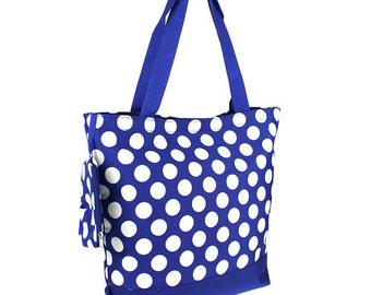Monogrammed Ladies Polka Dot Tote Bag, Shopping Bag, Tote Bag, Zipper Top Tote Bag, Personalized Tote Bag, Carry On Tote, Shoulder Bag,