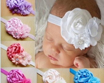 Baby Girls Headband, Infant  headband, Chiffon headband, Rhinestones, Satin Flower Headband, Photo Prop