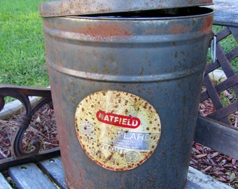 Vintage Large Tin Can / Bertels Can Company / Storage tin /  Lard Can