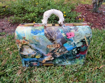 Vintage Paper Mâché luggage Suitcase / Travel Suitcase / Luggage/ Shabby Chic
