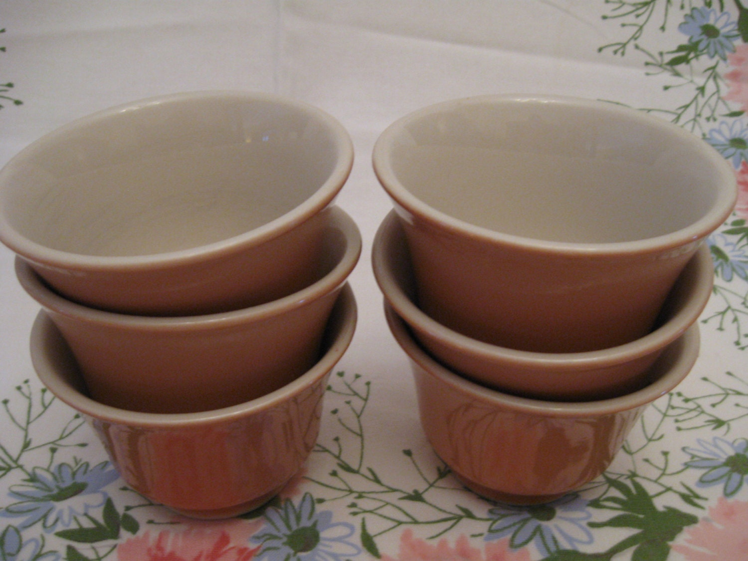 Set of 6 Vintage Mayer China Peach Salmon Custard by AlicesPorch