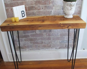 Modern Industrial Console with Hairpin Legs,Reclaimed wood from NYC, Entry Table
