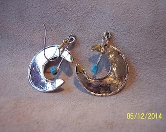 Sterling Silver Half Moon Earrings.