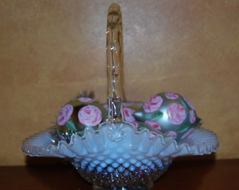Large French Opalescent Brides Basket......by, Fenton Glass