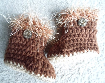 READY TO SHIP in 0-3 Months.  Adorable Brown Fluffy Boots w/ Little Gold Buttons.