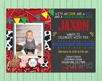 Farm Birthday Invite Chalkboard // Boy Birthday Invitation // Custom Invite // Bandana // Denim // Farmer // Animals // Farm Theme // Cow