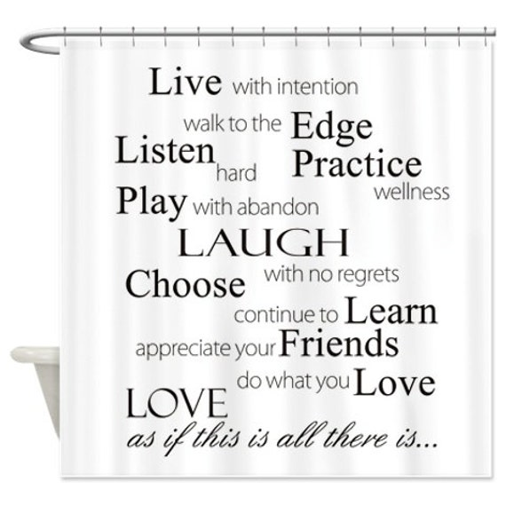 Shower Curtain Quotes Live With Intention By Folkandfunky