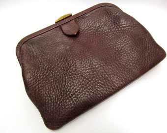 1960's Distressed Brown Leather Clutch