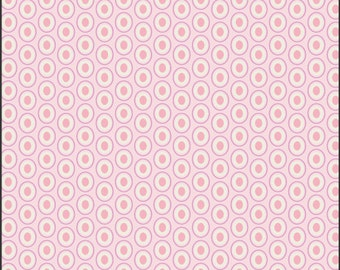 Crib/Toddler fitted bed sheet, Oval elements, pink