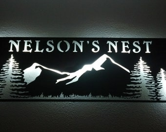 Metal sign mountain wall hanging
