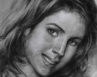 Custom original drawing portrait, pencil sketch portrait, photos to drawing, hand painted pencil portrait on paper, one figure