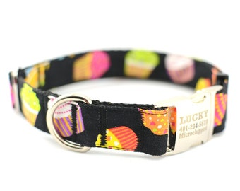 Dog Collar with Personalized Buckle,Cupcake,Fabric 254,1 inch wide