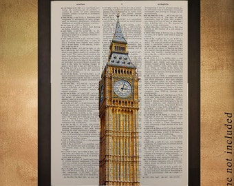 Big Ben Dictionary Art Print, London Architecture England UK Britain Tower Building Travel Gift Ideas da527