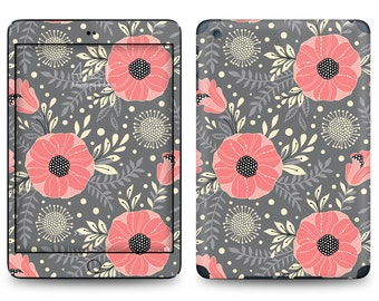 Gray Salmon Pink Flower Pattern - Apple iPad Air 2, iPad Air 1, iPad 2, iPad 3, iPad 4, and iPad Mini Decal Skin Cover