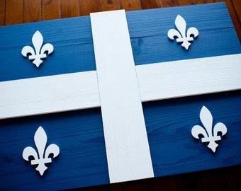 Quebec Wood Flag, Quebec Wooden Flag, Quebec Flag, Montreal, Canada, Maple Leaf, Quebec City, Fleurdelisé, wall art, wood flag, home decor,