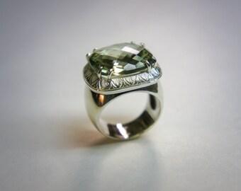 Bright line silver prasiolite ring