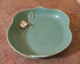 Vintage Haldeman Caliente California Pottery Low Flower Bowl Aqua with White Rose