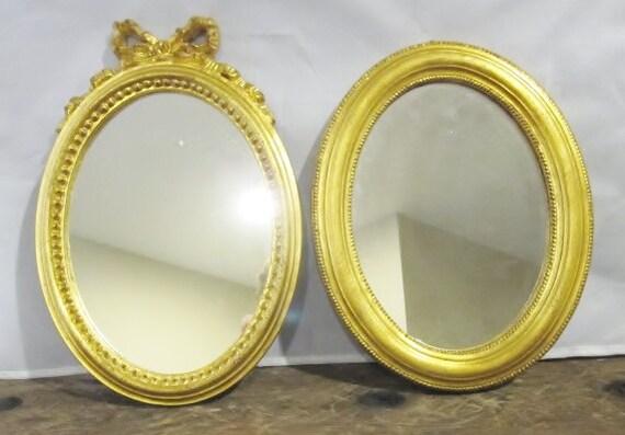 Vintage pair gilded wood wall mirrors decorative crafts for Decorative crafts mirrors