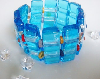Fused glass Cuff Bracelet