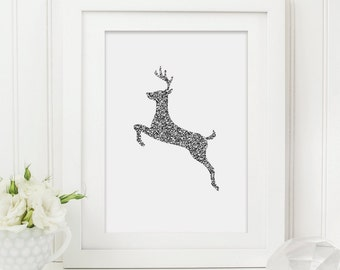 Christmas Reindeer Printable - Christmas Printable - Festive Printable - Holiday Printable - Reindeer Printable - Digital Download
